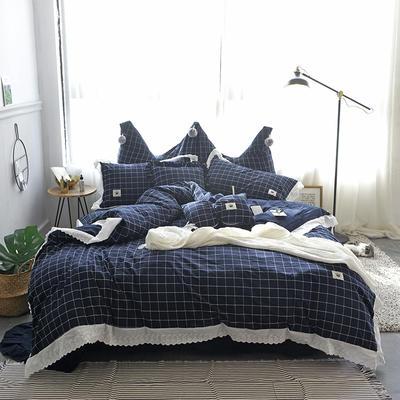爱丽家纺 全棉色织水洗棉四件套 1.5m-1.8m床 蒂亚-深蓝