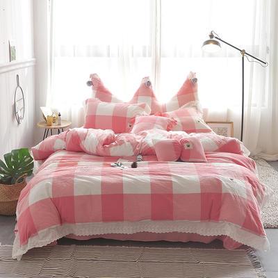 爱丽家纺 全棉色织水洗棉四件套 1.5m-1.8m床 粉大格