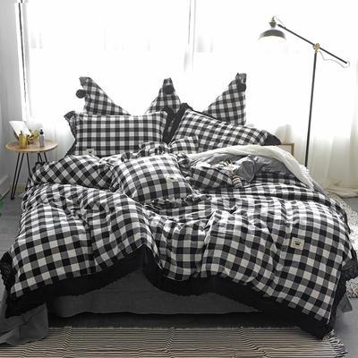 爱丽家纺 全棉色织水洗棉四件套 1.5m-1.8m床 黑白格