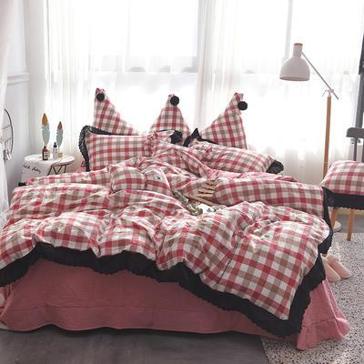 爱丽家纺 全棉色织水洗棉四件套 1.5m-1.8m床 七分格-红