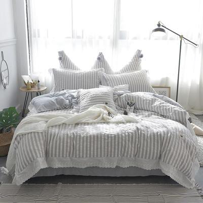 爱丽家纺 全棉色织水洗棉四件套 1.5m-1.8m床 浅灰条纹