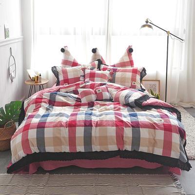 爱丽家纺 全棉色织水洗棉四件套 1.5m-1.8m床 四色格-红