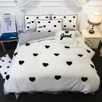 爱丽家纺 2018年新款水洗棉毛巾绣套件 方枕含芯/个 爱心