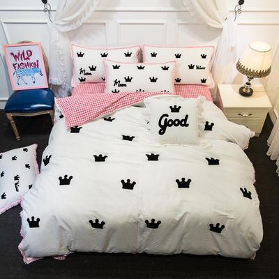 爱丽家纺 2018年新款水洗棉毛巾绣套件 方枕含芯/个 皇冠