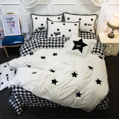 爱丽家纺 2018年新款水洗棉毛巾绣套件 方枕含芯/个 五角星
