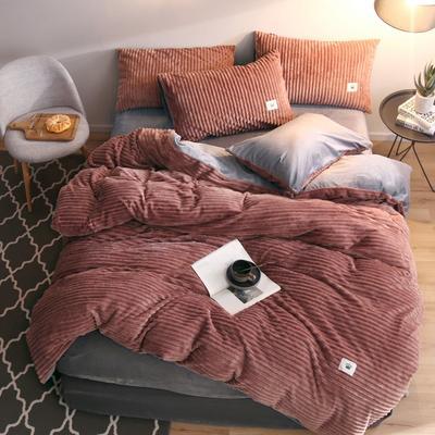 2019新款爱丽家纺魔法绒四件套 1.8m(6英尺)床 红棕色