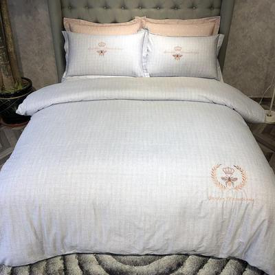 2019新款 全棉13372肌理纹绣花四件套 1.5m(5英尺)床 蜂格-蓝调灰