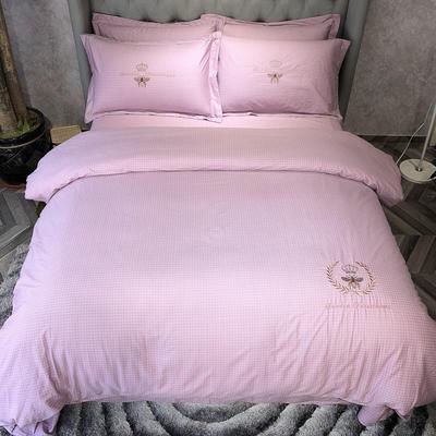 2019新款 全棉13372肌理纹绣花四件套 1.5m(5英尺)床 蜂格-冷艳紫