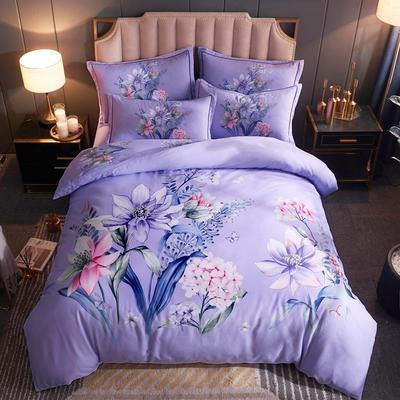 2019新款全棉大阪磨毛四件套 1.5m-1.8m床单款 蓝颜-紫