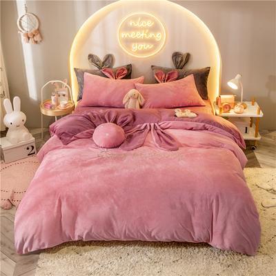 2019新款兔耳朵早安兔水晶宝宝绒四件套 1.2m床单款三件套 早安兔粉玉