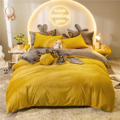 2019新款兔耳朵早安兔水晶宝宝绒四件套 1.2m床单款三件套 早安兔黄