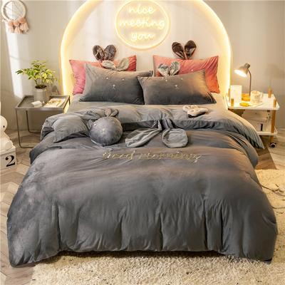 2019新款兔耳朵早安兔水晶宝宝绒四件套 1.2m床单款三件套 早安兔灰色