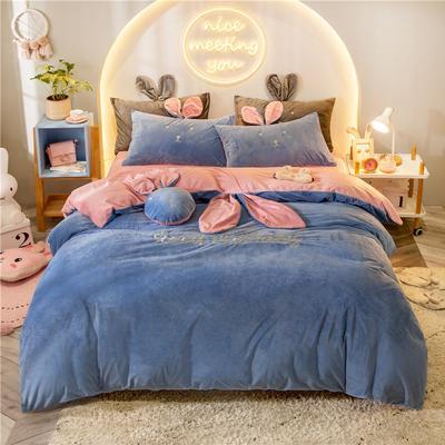 2019新款兔耳朵早安兔水晶宝宝绒四件套 1.2m床单款三件套 早安兔蓝色