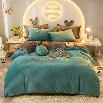 2019新款兔耳朵早安兔水晶宝宝绒四件套 1.2m床单款三件套 早安兔墨绿