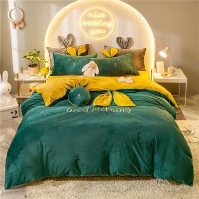 2019新款兔耳朵早安兔水晶宝宝绒四件套 1.2m床单款三件套 早安兔深绿