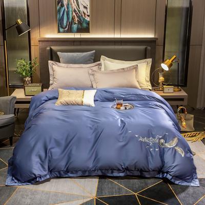 2020新款60s纯棉纯色刺绣单被套 180x220cm 皇家蓝