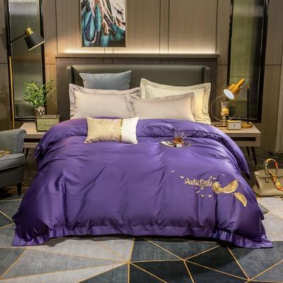 2020新款60s纯棉纯色刺绣单被套 180x220cm 星空紫