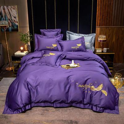 2020新款60s羽毛绣花四件套 1.2m床单款三件套 星空紫