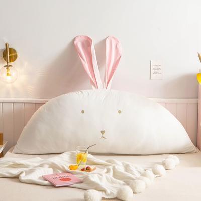 2020新款全棉水洗棉兔耳朵系列大靠枕(可拆卸) 1.2m(含芯) 早安兔-粉白