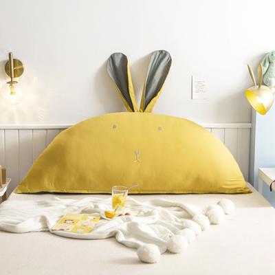 2020新款全棉水洗棉兔耳朵系列大靠枕(可拆卸) 1.2m(含芯) 早安兔-姜黄