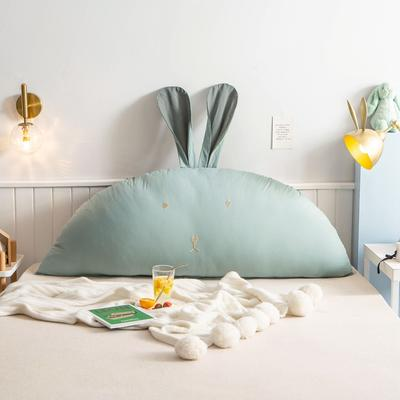 2020新款全棉水洗棉兔耳朵系列大靠枕(可拆卸) 1.2m(含芯) 早安兔-墨绿