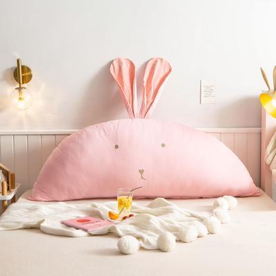 2020新款全棉水洗棉兔耳朵系列大靠枕(可拆卸) 1.2m(含芯) 早安兔-浅粉玉