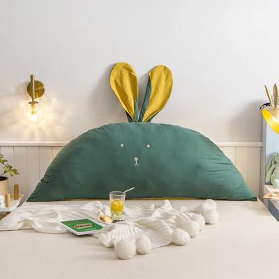 2020新款全棉水洗棉兔耳朵系列大靠枕(可拆卸) 1.2m(含芯) 早安兔-深绿