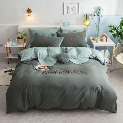 2020新款全棉水洗棉兔耳朵系列四件套 1.2m(4英尺)床单款三件套 早安兔-典雅灰