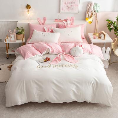 2020新款全棉水洗棉兔耳朵系列四件套 1.5m(5英尺)床单款 早安兔-粉白