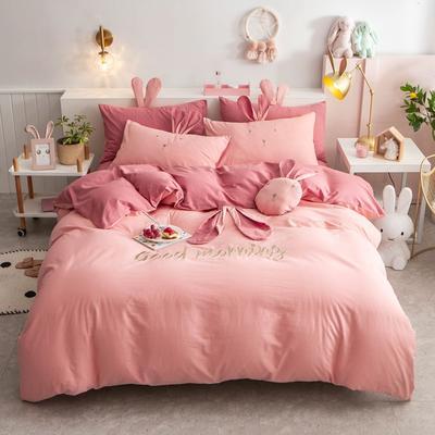 2020新款全棉水洗棉兔耳朵系列四件套 1.5m(5英尺)床单款 早安兔-粉玉