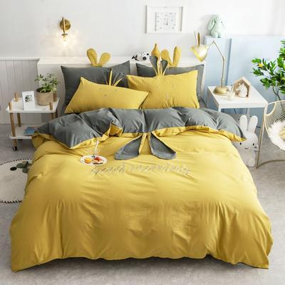 2020新款全棉水洗棉兔耳朵系列四件套 1.5m(5英尺)床单款 早安兔-姜黄