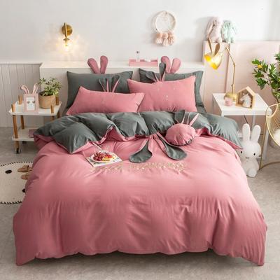 2020新款全棉水洗棉兔耳朵系列四件套 1.5m(5英尺)床单款 早安兔-梅子色