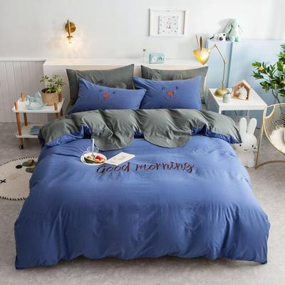 2020新款全棉水洗棉兔耳朵系列四件套 1.5m(5英尺)床单款 早安兔-梦幻蓝