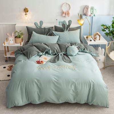 2020新款全棉水洗棉兔耳朵系列四件套 1.5m(5英尺)床单款 早安兔-墨绿