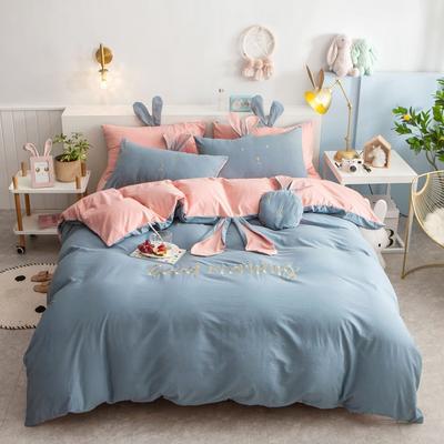 2020新款全棉水洗棉兔耳朵系列四件套 1.2m(4英尺)床单款三件套 早安兔-天蓝