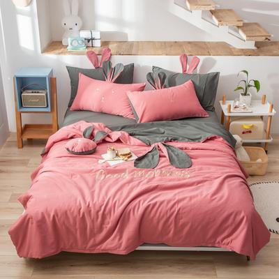 2020新款全棉水洗棉兔耳朵系列夏被四件套 200X230cm单夏被 早安兔-梅子色