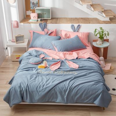 2020新款全棉水洗棉兔耳朵系列夏被四件套 200X230cm单夏被 早安兔-天蓝