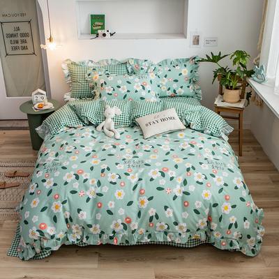 2020新款韩版印花条纹四件套 1.2m床单款三件套 花之物语-绿