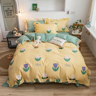 2020新款韩版印花条纹四件套 1.2m床单款三件套 科莫花园-黄
