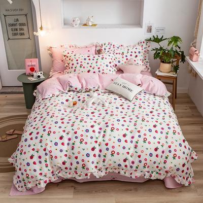 2020新款韩版印花条纹四件套 1.2m床单款三件套 奶油小姐