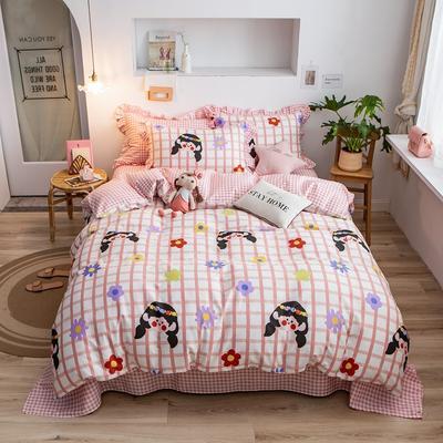 2020新款韩版印花条纹四件套 1.2m床单款三件套 少女时代