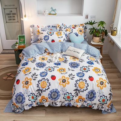 2020新款韩版印花条纹四件套 1.2m床单款三件套 太阳花-蓝