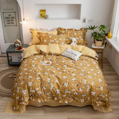 2020新款韩版印花条纹四件套 1.2m床单款三件套 恬花拾影