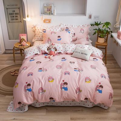 2020新款韩版印花条纹四件套 1.2m床单款三件套 小时光