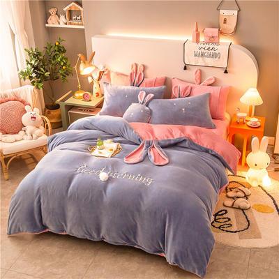 2020新款兔耳朵早安兔水晶宝宝绒四件套(新拍图) 1.2m床单款三件套 天蓝