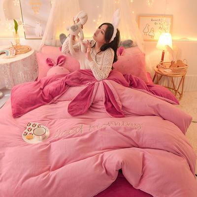 2020新款兔耳朵早安兔水晶宝宝绒四件套(新拍图2) 1.2m床单款三件套 粉玉