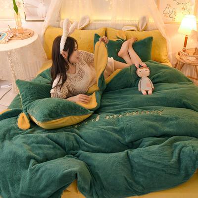 2020新款兔耳朵早安兔水晶宝宝绒四件套(新拍图2) 1.2m床单款三件套 深绿