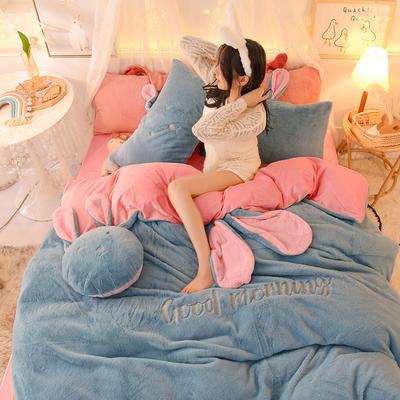 2020新款兔耳朵早安兔水晶宝宝绒四件套(新拍图2) 1.2m床单款三件套 天蓝