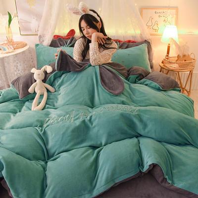 2020新款兔耳朵早安兔水晶宝宝绒四件套(新拍图2) 1.2m床单款三件套 墨绿