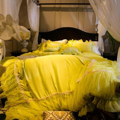 新款蕾丝花边真丝水洗四件套爱妮梦 床裙式床单 标准 爱妮梦